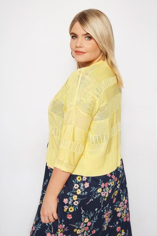Plus Size Cardigans Yellow Pointelle Cropped Cardigan
