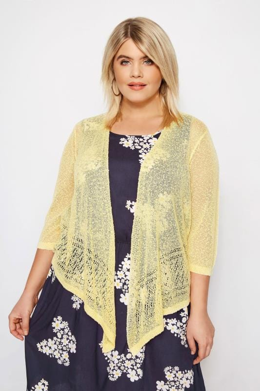 Plus Size Shrugs Yellow Popcorn Cropped Shrug
