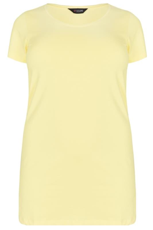 Plus Size T-Shirts Yellow Scoop Neck Longline Jersey T-Shirt