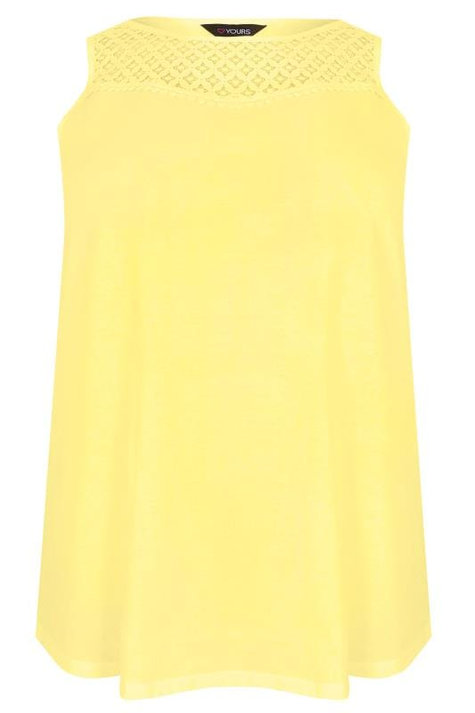 Yellow Sleeveless Top With Lace Yoke