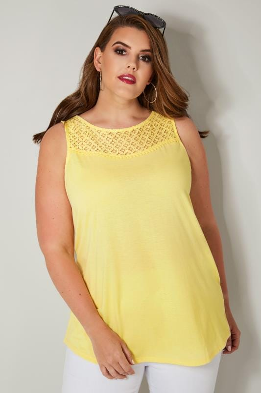 Plus Size Vests & Camis Yellow Sleeveless Top With Lace Yoke
