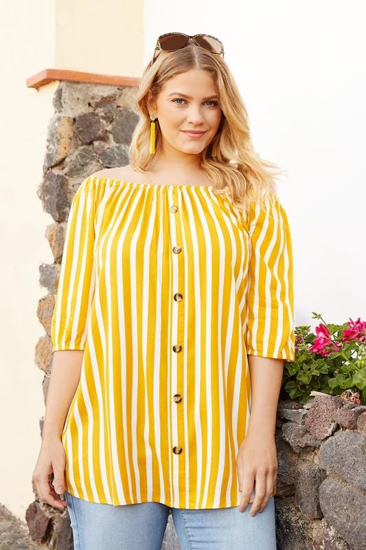 Plus Size Bardot & Cold Shoulder Tops Yellow Stripe Bardot Top