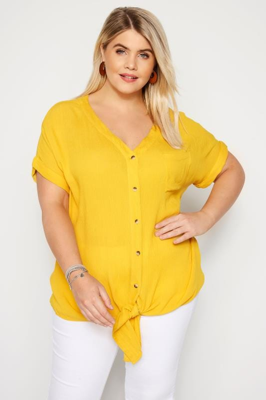 Plus Size Shirts Yellow Tie Front Shirt