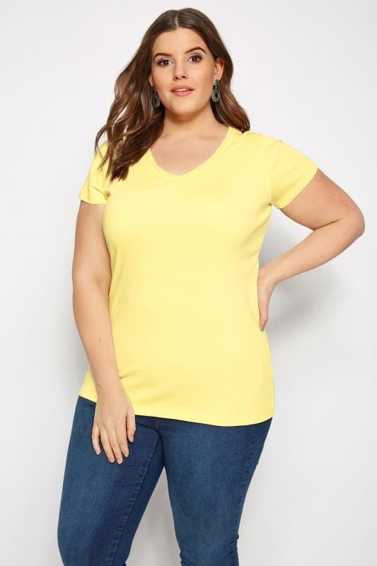 e3b51739 Plus Size Yellow V-Neck T-Shirt | Sizes 16 to 36 | Yours Clothing