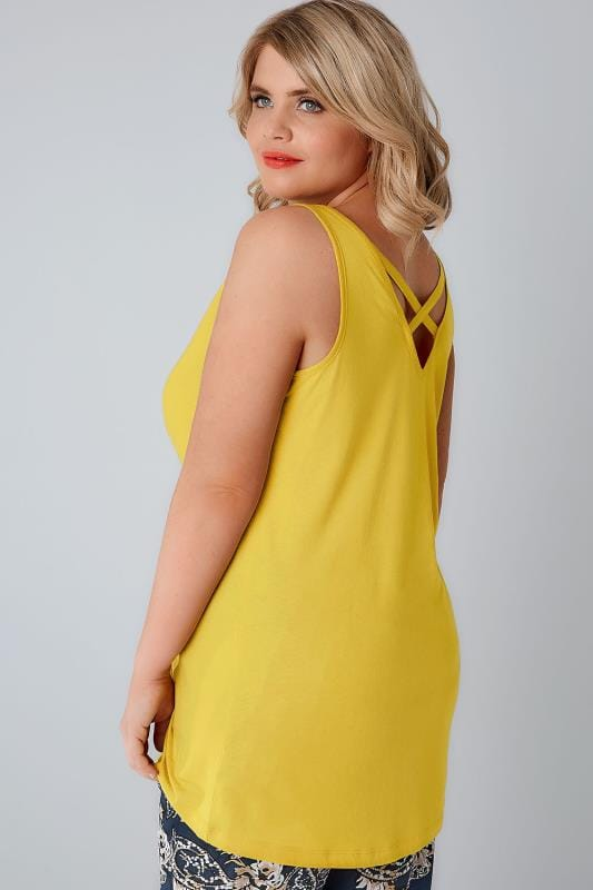 Yellow V-Neck Vest Top With Cross Back Detail