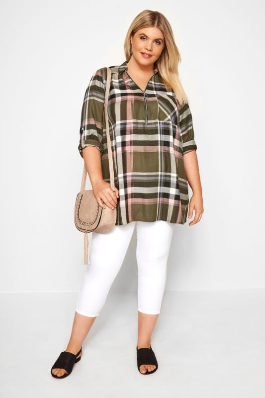 Khaki Check Shirt With Zip Front
