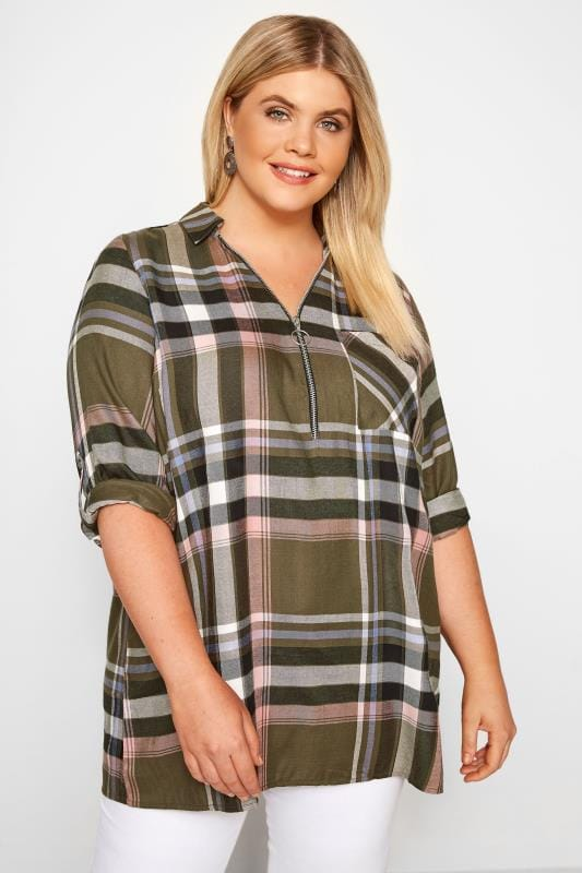 Plus Size Khaki Check Shirt With Zip Front