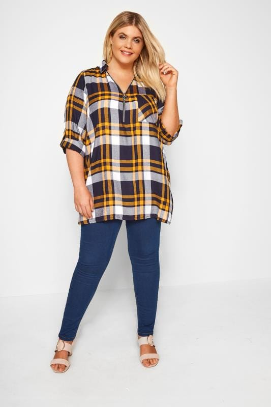 Yellow & Navy Check Shirt With Zip Front