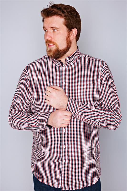 D555 Red & Navy Gingham Check Long Sleeve Shirt