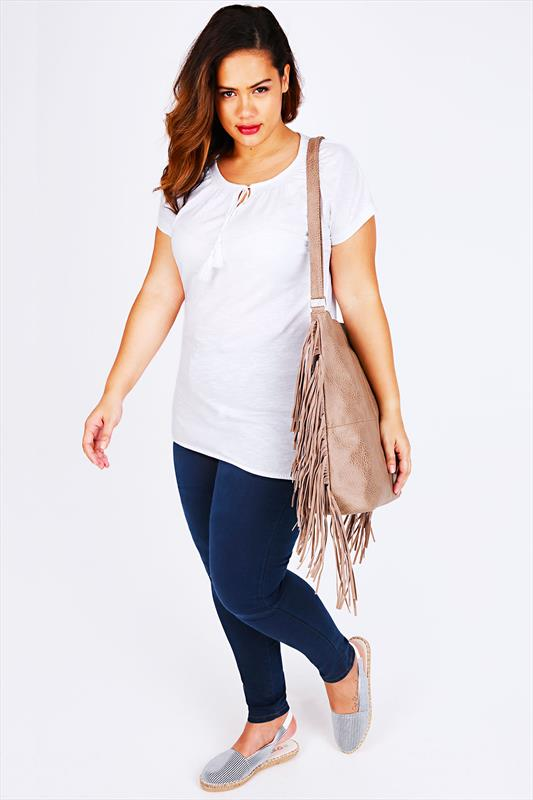 White Short Sleeve Cotton Gypsy Top With Tassel Tie
