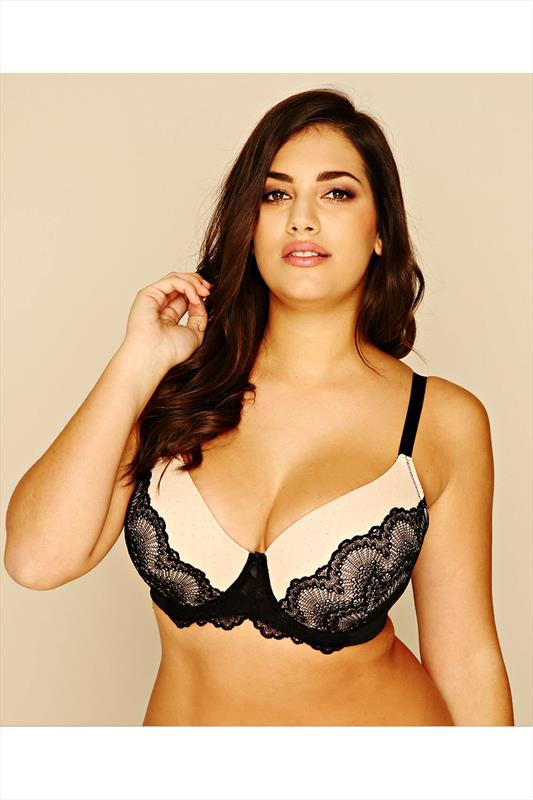Black & Nude Underwired Bra With Lace Detail