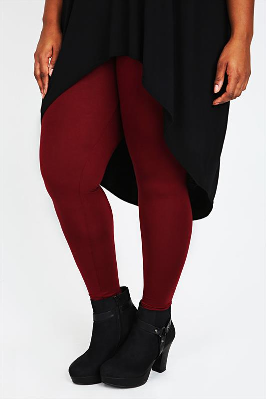 Burgundy Viscose Elastane Full Length Leggings