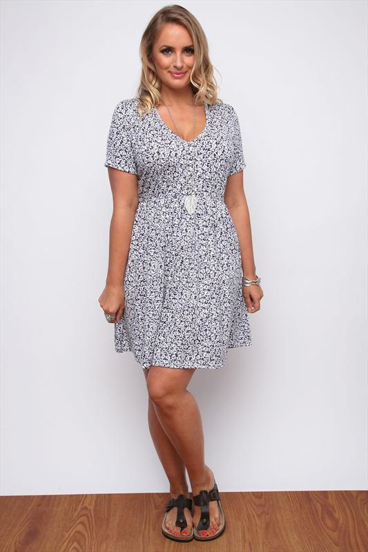 Navy And Purple Daisy Print Drop Waist Dress Plus Size 14161820