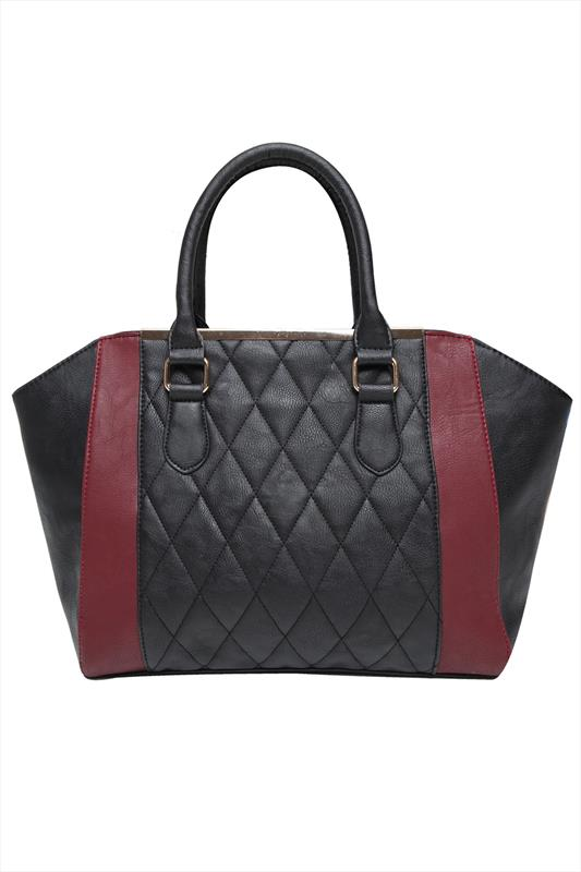 Black & Burgundy Quilted Panel Shopper Bag With Metal Trim