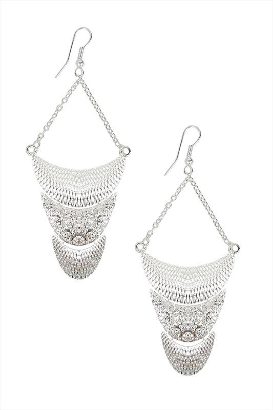 Silver Textured Diamanté Drop Earrings