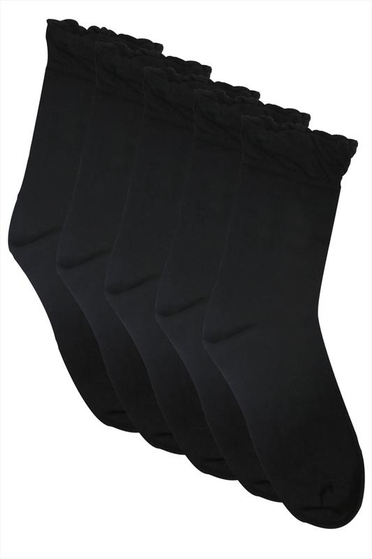 5 PACK Black Socks In Extra Wide Fit
