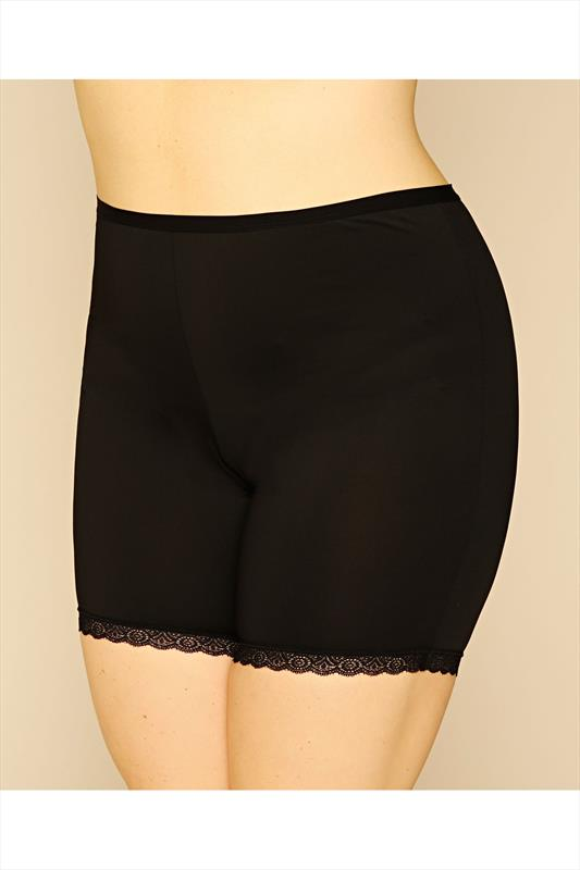 Plus Size Briefs & Knickers Black Thigh Smoother Brief With Lace Detail Hem