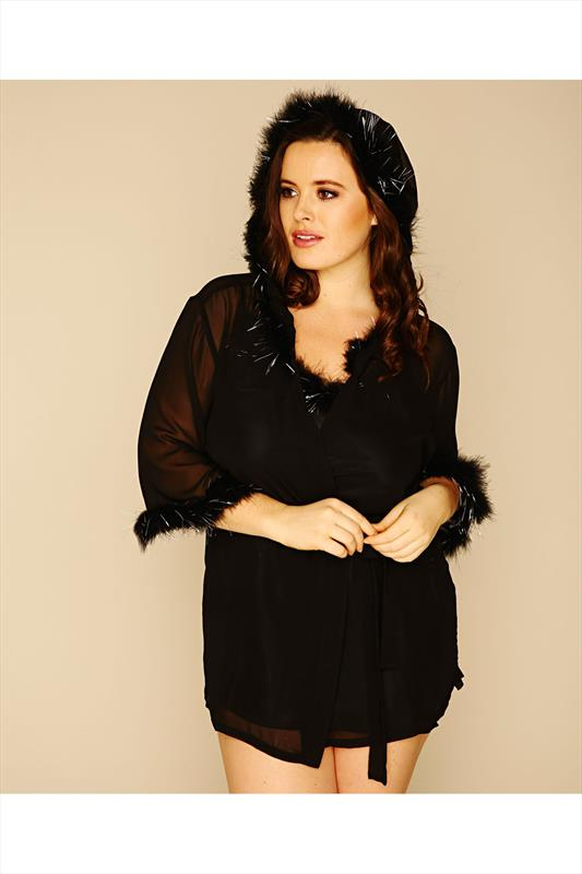 DREAMGIRL Black Chiffon Hooded Robe With Sparkling Feather Trim