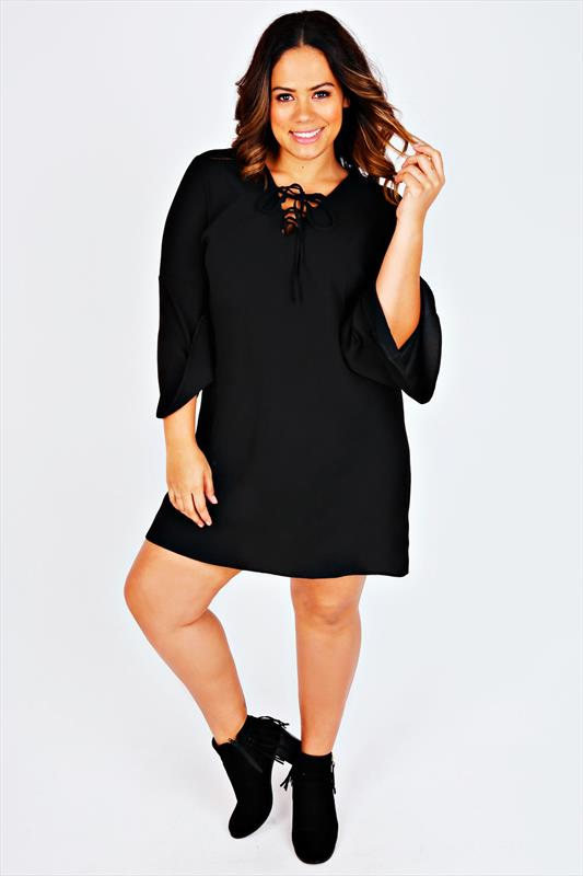 Black Lace Up Swing Dress With Long Flared Sleeves Plus Size 16 to 36