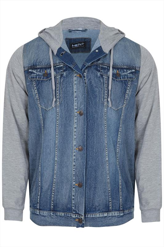 Denim Jacket With Contrasting Grey Sweat Sleeves