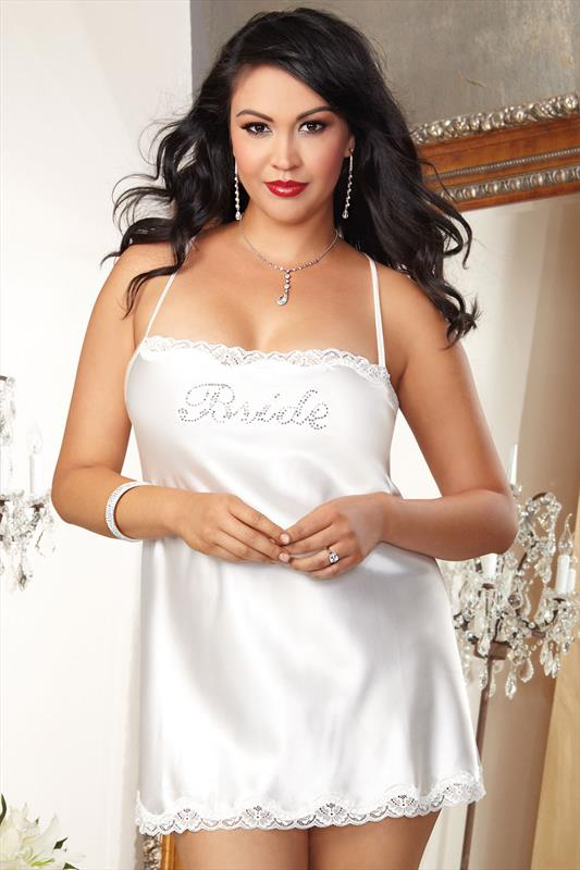 Plus Size Bridal Lingerie DREAMGIRL Ivory Satin Diamanté Embellished Bridal Chemise
