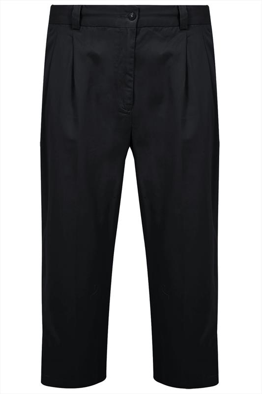 Black Stretch Waist Chino Trousers With Pleats