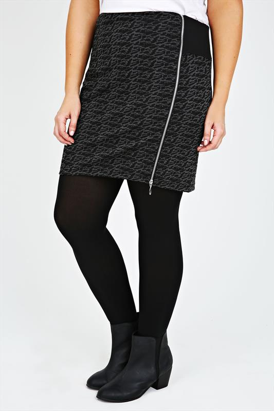 Charcoal Grey Jacquard Print Pull On Short Skirt With Zip Detail