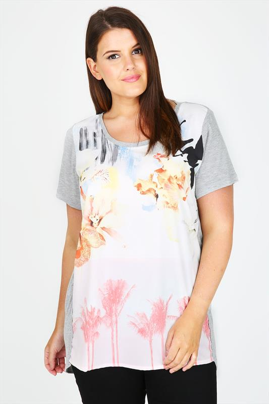 Grey Marl Top With Watercolour Floral Print Front Panel
