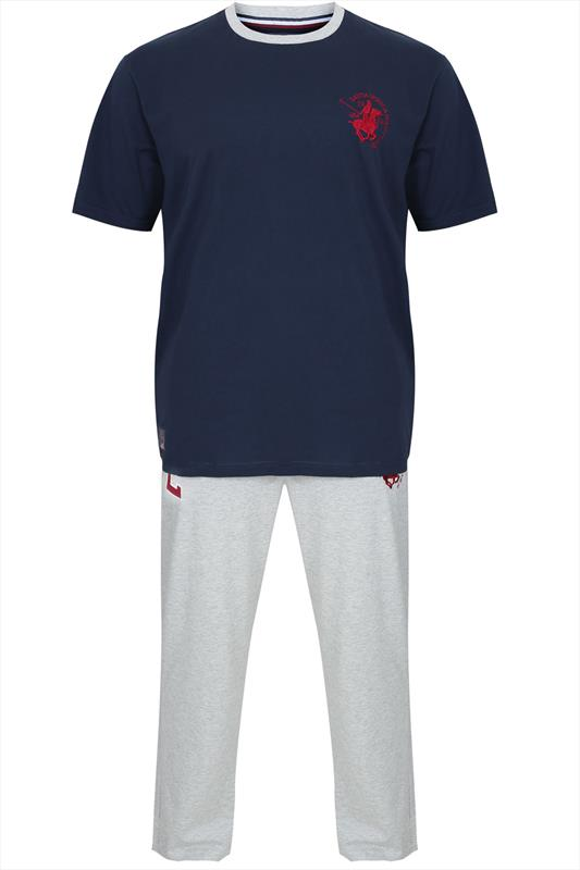 Santa Monica Polo Club Grey & Navy  T-Shirt With Jogger Style Trousers