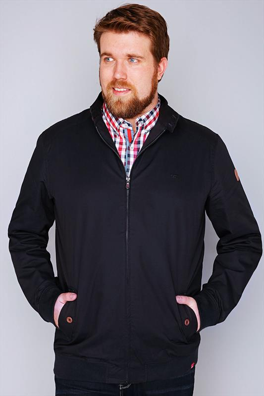 D555 Navy Cotton Harrington Jacket With Check Lining