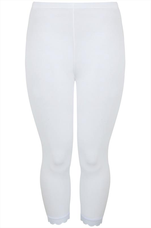 White Cotton Essential Cropped Leggings With Lace Detail