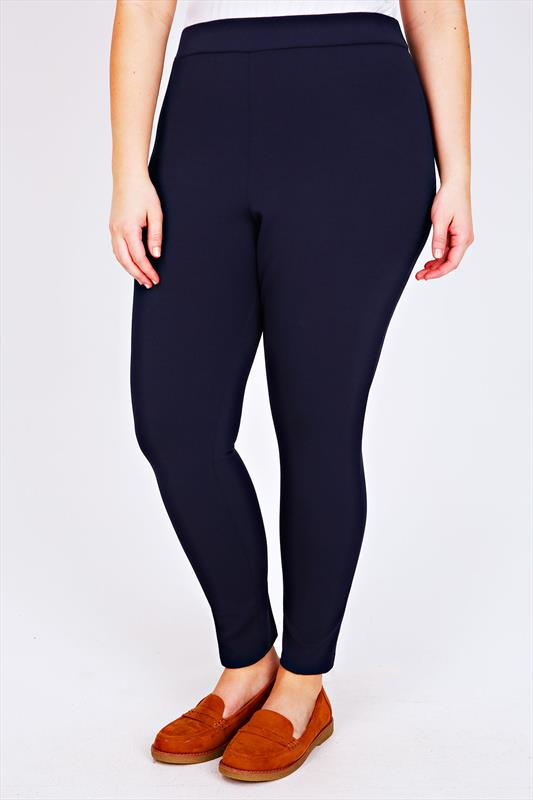 Navy Scuba Trousers With Elasticated Waist