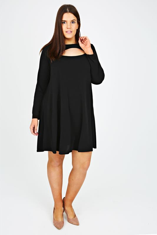 Black Swing Dress With Cut Out Detail