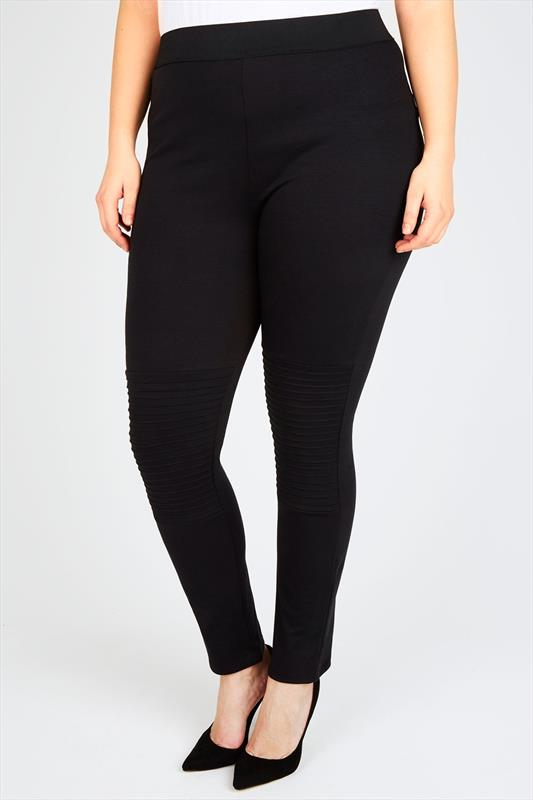 Black Jersey Jeggings With Biker Pintuck Detail