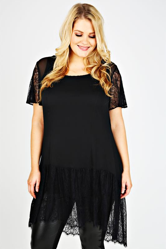 SCARLETT & JO Black Longline Top With Lace Sleeves & Hem
