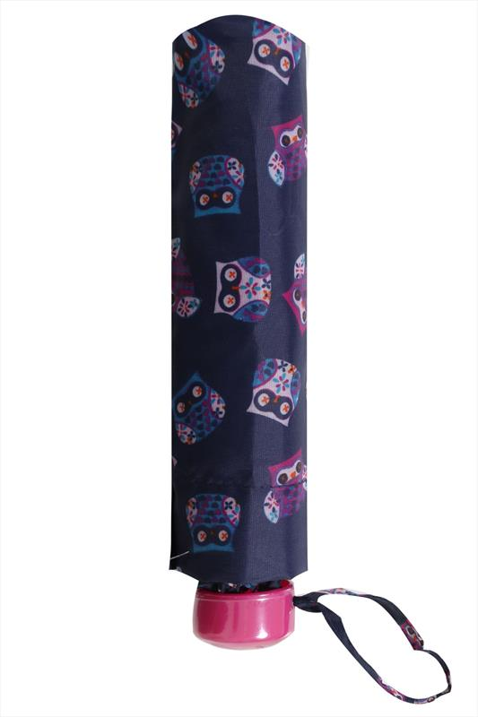 Navy & Multi Owl Print Umbrella