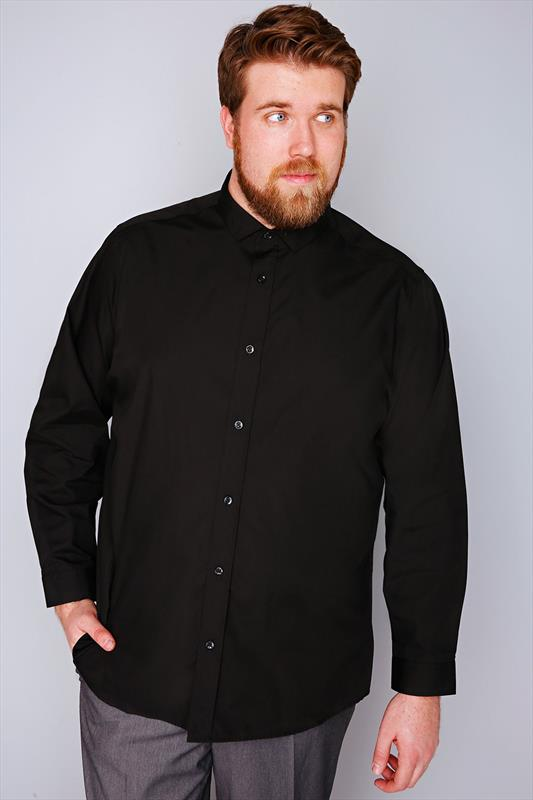 Slate Grey Black Formal Long Sleeve Shirt - TALL