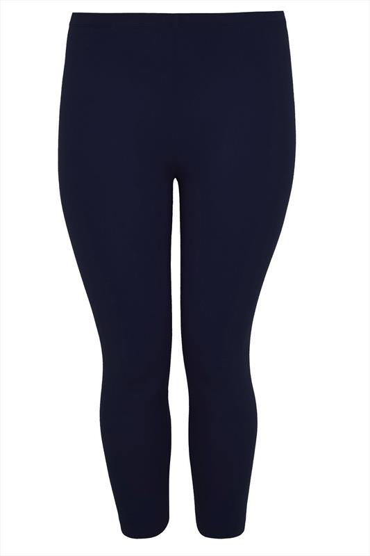 Navy Cotton Essential Cropped Leggings