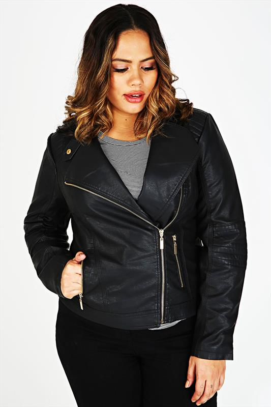Black leather biker jacket size 22 – Modern fashion jacket photo blog