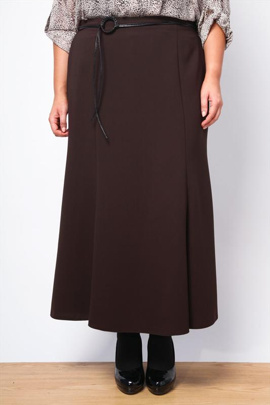 Chocolate Panelled Skirt With Black Thong Belt