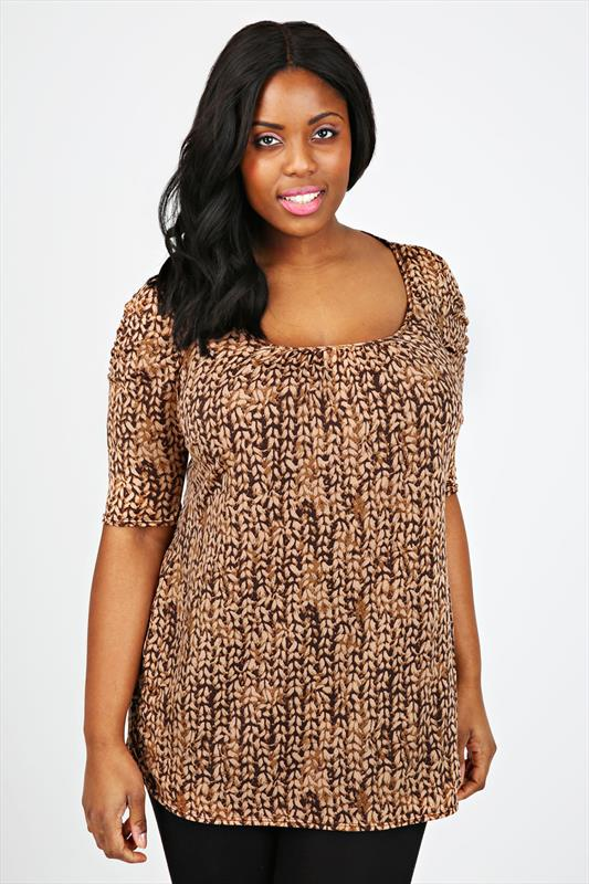 Multi Brown Printed Longline Top With Ruched Sleeves
