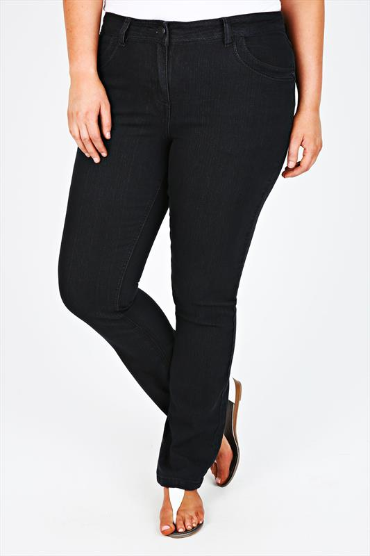 Black Straight Leg Jeans With Stitch Detail