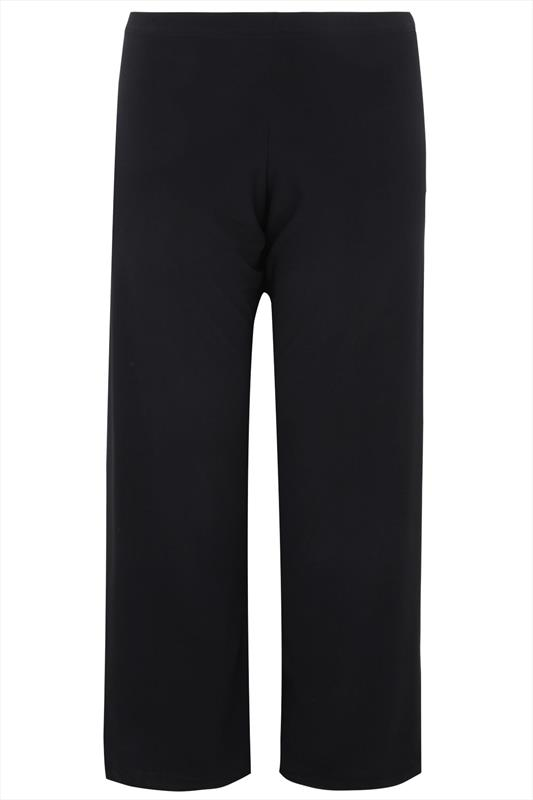 Black Pull On Wide Leg Trousers Plus Size 16 To 32