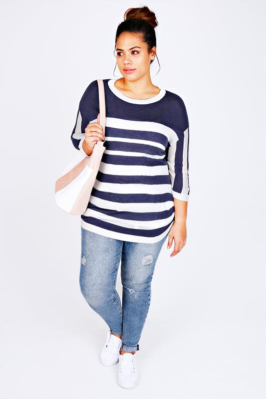 Navy & White Striped Jumper With Ruched Sides