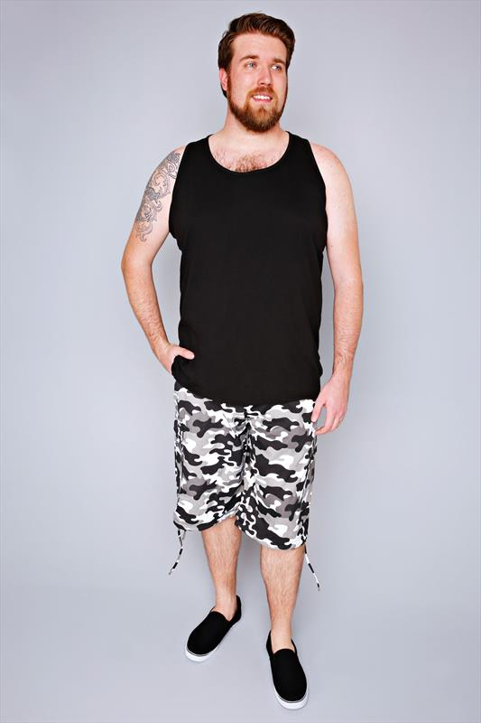 NOIZ Black & White Camo Print Cotton Cargo Shorts With Pockets