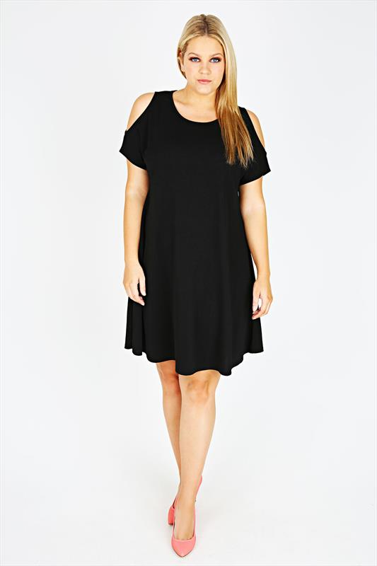 Black Cold Shoulder Crepe Swing Dress