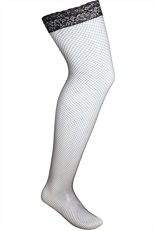 Black Fish Net Lace Top Hold Ups
