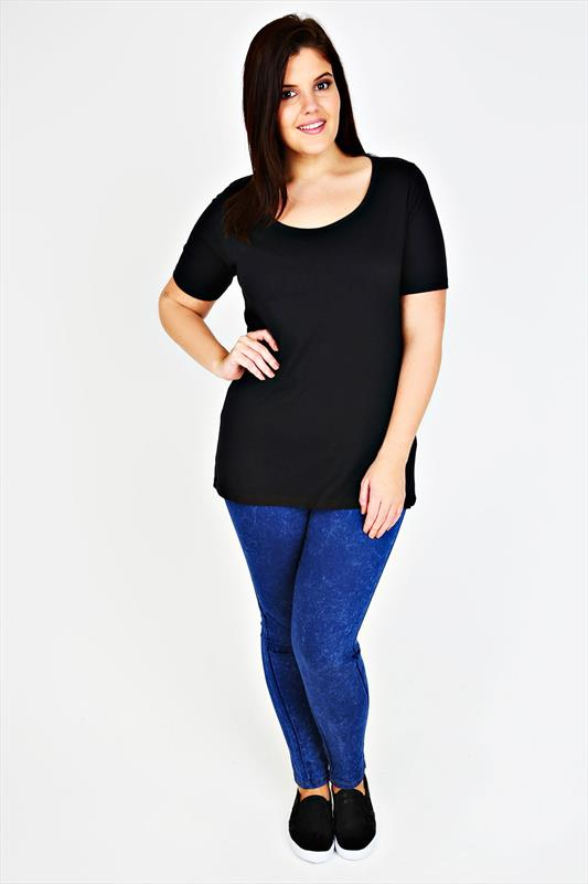 Black Scoop Neck Cotton T-Shirt