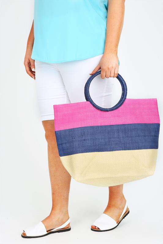Pink & Natural Straw Striped Beach Bag With Round Handle