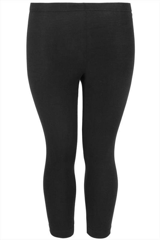 Black Cotton Essential Cropped Leggings plus Size 16 to 32
